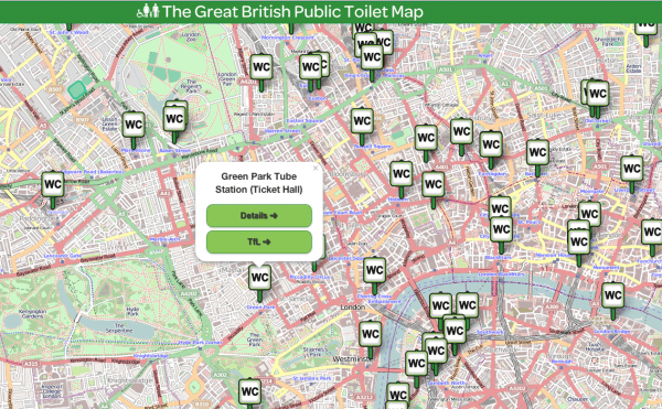 Фрагмент The Great British Public Toilet Map