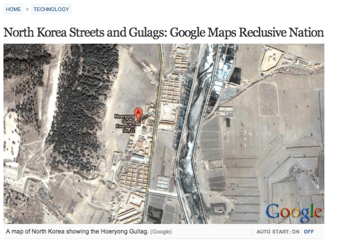 Фрагмент карты Google из статьи North Korea Streets and Gulags: Google Maps Reclusive Nation