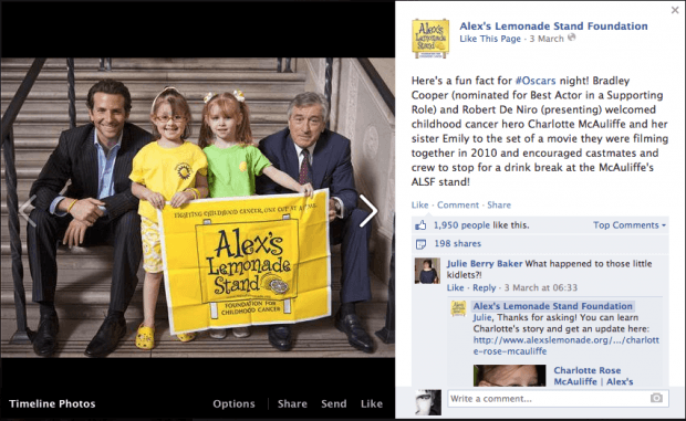 Facebook аккаунт Alex's Lemonade Stand Foundation
