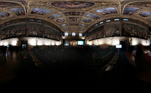 Working the big room at the Palazzo Vecchio, Museums and the Web 2014, Florence, Italy. Photo by Cory Doctorow