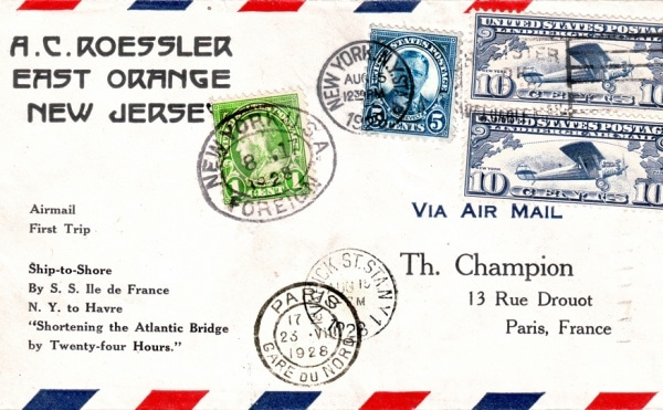 http://en.wikipedia.org/wiki/File:SS_Ile_de_France_1st_Air_Mail_1928.jpg