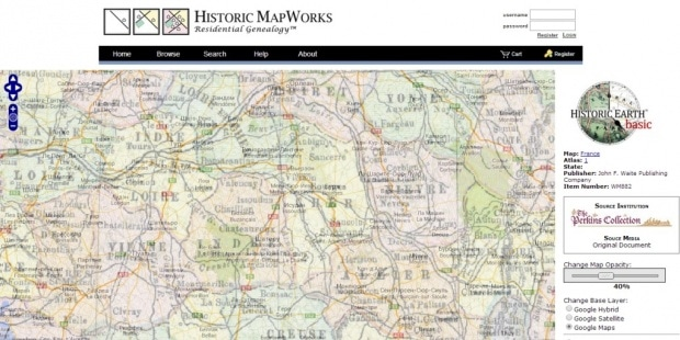 Фрагмент интерфейса сайта проекта Historic Map Works