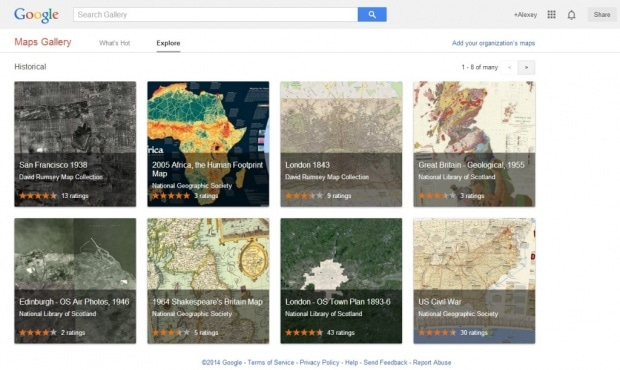 Фрагмент интерфейса сайта проекта Google Maps Gallery