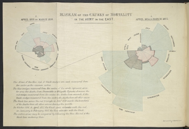 Diagram of the Causes of Mortality in the Army in the East Florence Nightingale. Image: British Library