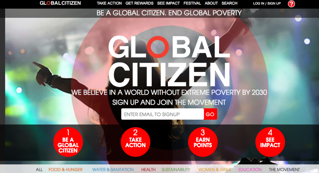 Фрагмент сайта Global Citizen
