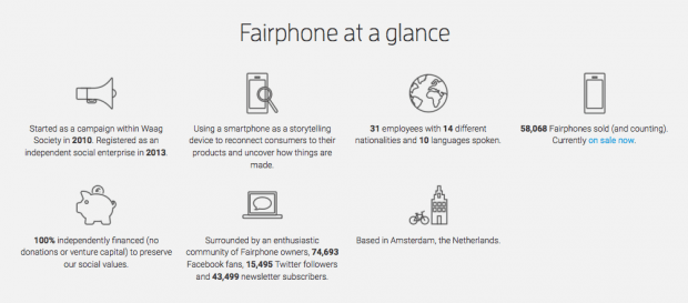 Фрагмент сайта Fairphone