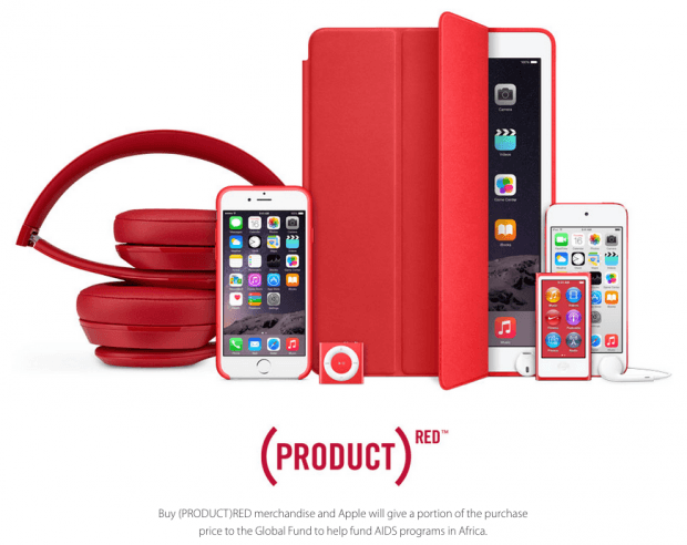 Фрагмент сайт Apple (Product)RED