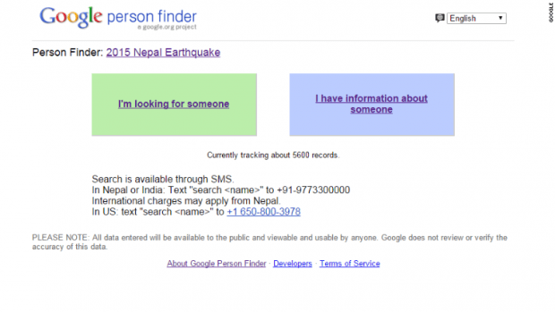 Google Person Finder. Изображение: cnn.com
