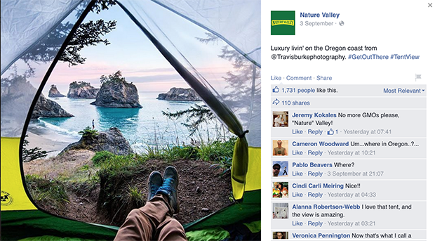 Facebook-страница компании Nature Valley. Изображение: facebook.com/naturevalley