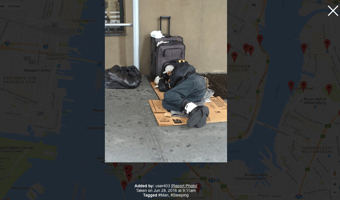 NYC Map The Homeless  карта бездомных НьюЙорка - Nyc map the homeless