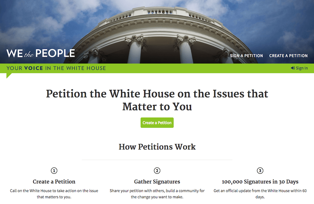 Фрагмент сайта petitions.whitehouse.gov