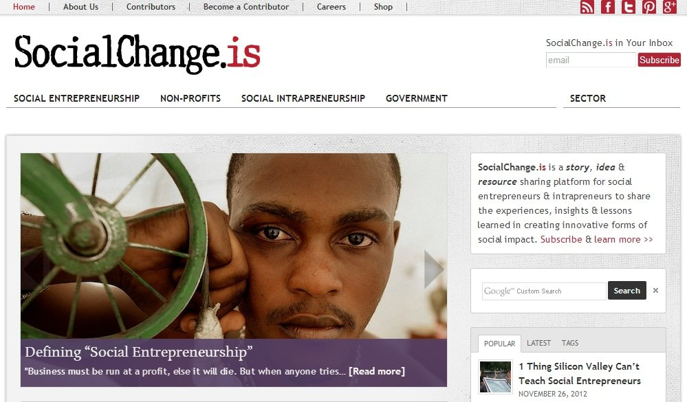 Фрагмент сайта SocialChange.is