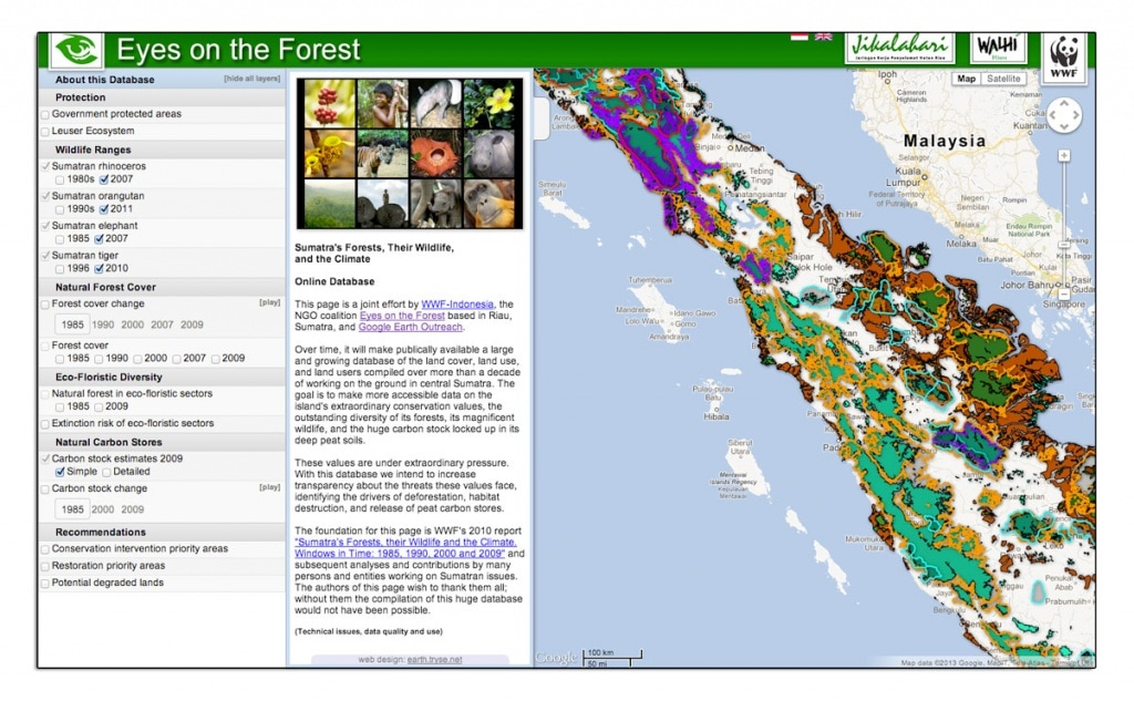 WWF & Eyes on the Forest mapped deforestation rates and wildlife habitat in Sumatra